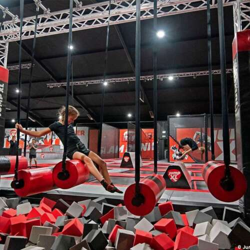 Ninja course - trampoline park for children and adults